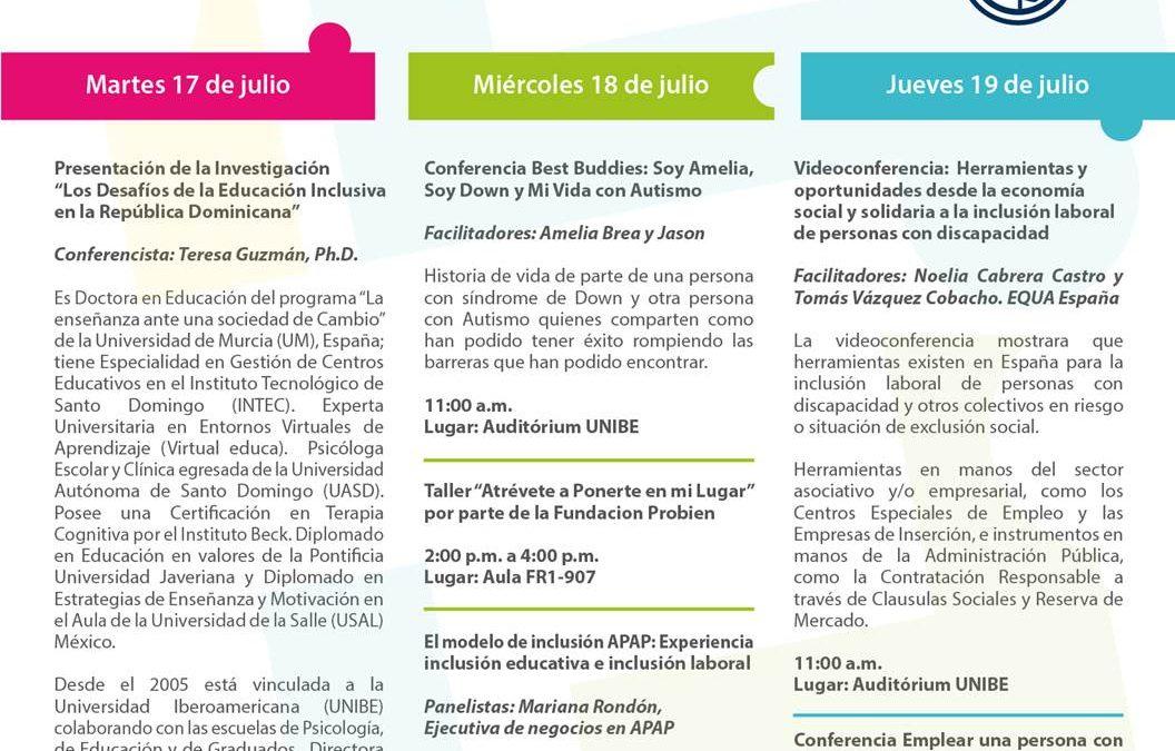 Participación en la Semana de la Inclusión de la Universidad Iberoamericana (UNIBE)
